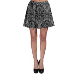 Damask1 Black Marble & Gray Leather (r) Skater Skirt