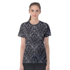 Damask1 Black Marble & Gray Leather (r) Women s Cotton Tee