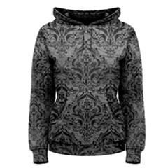 Damask1 Black Marble & Gray Leather (r) Women s Pullover Hoodie
