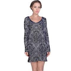 Damask1 Black Marble & Gray Leather (r) Long Sleeve Nightdress