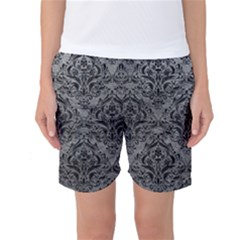 Damask1 Black Marble & Gray Leather (r) Women s Basketball Shorts