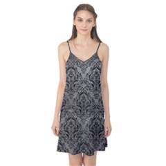 Damask1 Black Marble & Gray Leather (r) Camis Nightgown