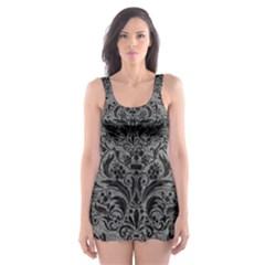 Damask1 Black Marble & Gray Leather (r) Skater Dress Swimsuit