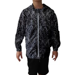 Damask1 Black Marble & Gray Leather (r) Hooded Wind Breaker (kids)