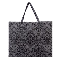 Damask1 Black Marble & Gray Leather (r) Zipper Large Tote Bag