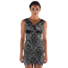 Damask1 Black Marble & Gray Leather (r) Wrap Front Bodycon Dress