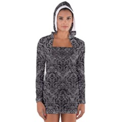 Damask1 Black Marble & Gray Leather (r) Long Sleeve Hooded T Shirt