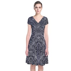 Damask1 Black Marble & Gray Leather (r) Short Sleeve Front Wrap Dress