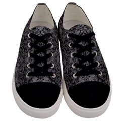 Damask1 Black Marble & Gray Leather (r) Men s Low Top Canvas Sneakers