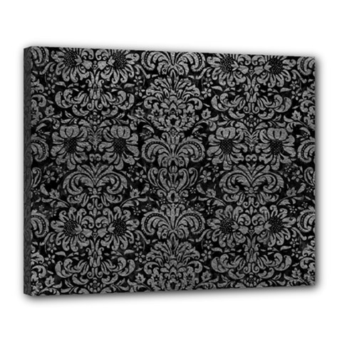 Damask2 Black Marble & Gray Leather Canvas 20  X 16
