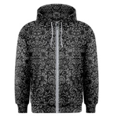 Damask2 Black Marble & Gray Leather Men s Zipper Hoodie