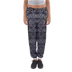 Damask2 Black Marble & Gray Leather Women s Jogger Sweatpants