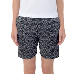 Damask2 Black Marble & Gray Leather Women s Basketball Shorts
