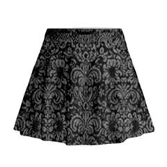 Damask2 Black Marble & Gray Leather Mini Flare Skirt