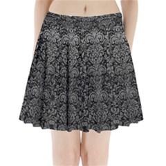Damask2 Black Marble & Gray Leather Pleated Mini Skirt