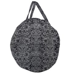 Damask2 Black Marble & Gray Leather Giant Round Zipper Tote