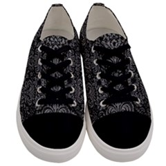 Damask2 Black Marble & Gray Leather Men s Low Top Canvas Sneakers