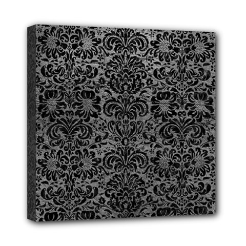 Damask2 Black Marble & Gray Leather (r) Mini Canvas 8  X 8