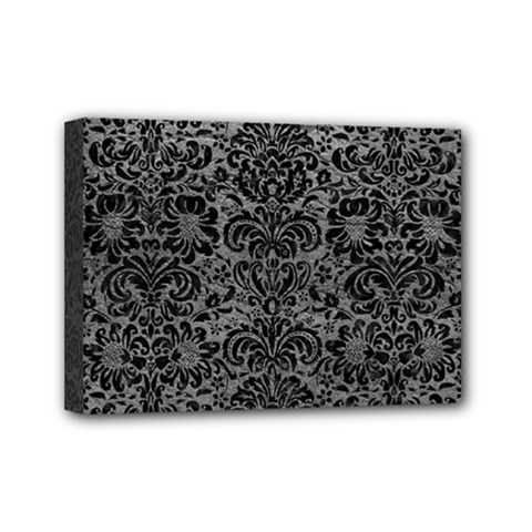 Damask2 Black Marble & Gray Leather (r) Mini Canvas 7  X 5