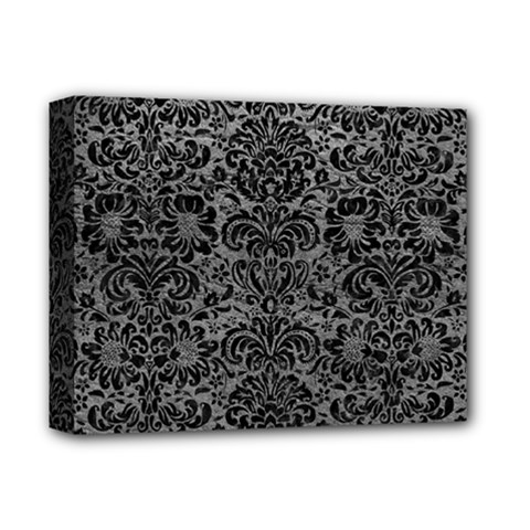Damask2 Black Marble & Gray Leather (r) Deluxe Canvas 14  X 11