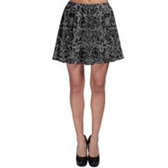 Damask2 Black Marble & Gray Leather (r) Skater Skirt