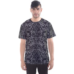Damask2 Black Marble & Gray Leather (r) Men s Sports Mesh Tee