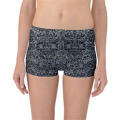 Damask2 Black Marble & Gray Leather (r) Boyleg Bikini Bottoms