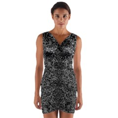 Damask2 Black Marble & Gray Leather (r) Wrap Front Bodycon Dress