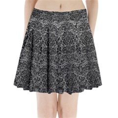 Damask2 Black Marble & Gray Leather (r) Pleated Mini Skirt