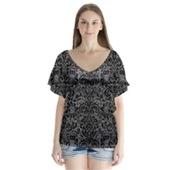 Damask2 Black Marble & Gray Leather (r) V Neck Flutter Sleeve Top