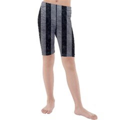 Stripes1 Black Marble & Gray Leather Kids  Mid Length Swim Shorts