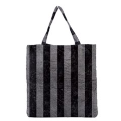 Stripes1 Black Marble & Gray Leather Grocery Tote Bag
