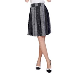 Stripes1 Black Marble & Gray Leather A Line Skirt