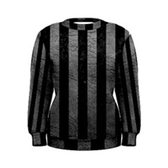 Stripes1 Black Marble & Gray Leather Women s Sweatshirt