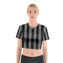 Stripes1 Black Marble & Gray Leather Cotton Crop Top