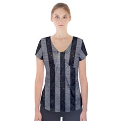 Stripes1 Black Marble & Gray Leather Short Sleeve Front Detail Top