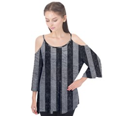 Stripes1 Black Marble & Gray Leather Flutter Tees