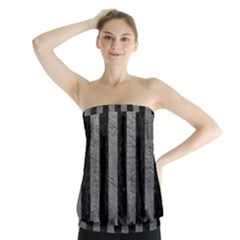 Stripes1 Black Marble & Gray Leather Strapless Top