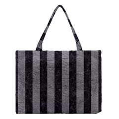 Stripes1 Black Marble & Gray Leather Medium Tote Bag