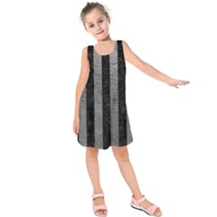 Stripes1 Black Marble & Gray Leather Kids  Sleeveless Dress