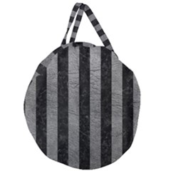 Stripes1 Black Marble & Gray Leather Giant Round Zipper Tote