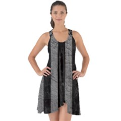 Stripes1 Black Marble & Gray Leather Show Some Back Chiffon Dress
