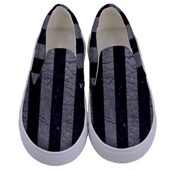Stripes1 Black Marble & Gray Leather Kids  Canvas Slip Ons