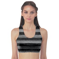 Stripes2 Black Marble & Gray Leather Sports Bra