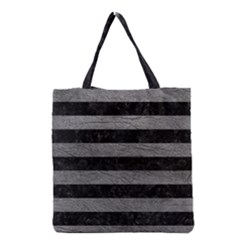 Stripes2 Black Marble & Gray Leather Grocery Tote Bag