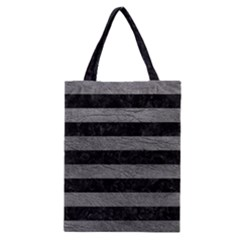 Stripes2 Black Marble & Gray Leather Classic Tote Bag