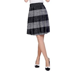 Stripes2 Black Marble & Gray Leather A Line Skirt