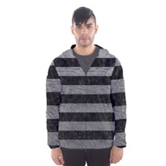 Stripes2 Black Marble & Gray Leather Hooded Wind Breaker (men)