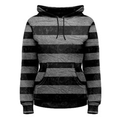 Stripes2 Black Marble & Gray Leather Women s Pullover Hoodie