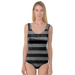 Stripes2 Black Marble & Gray Leather Princess Tank Leotard